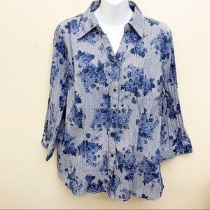 Croft&Barrow Button Down Shirt Floral Blue Large